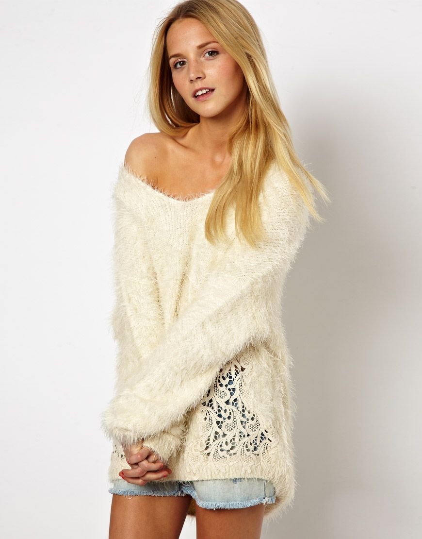 $67.50 Sweater by ASOS Collection - Made from a fluffy textured ...
