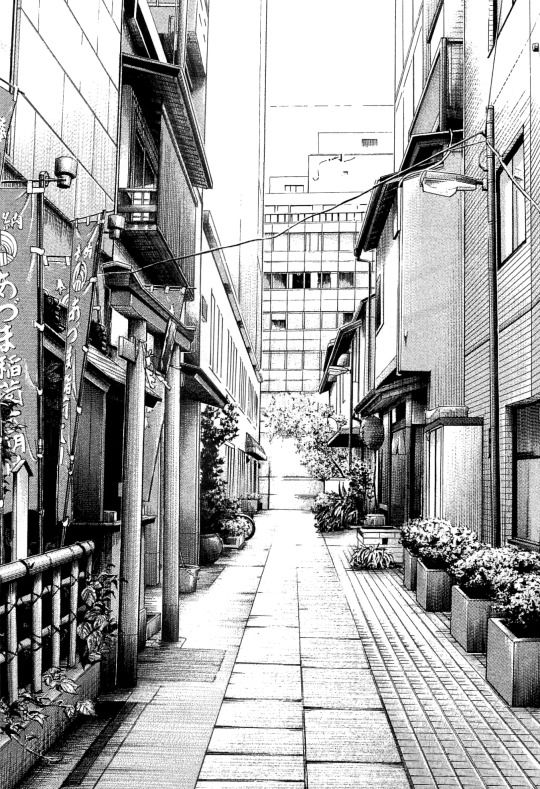 Anime Manga Monochrome Art Drawing Japanese Japan Tokyo Alley Streets Cityscap Cityscape Drawing Perspective Drawing Architecture Landscape Drawings