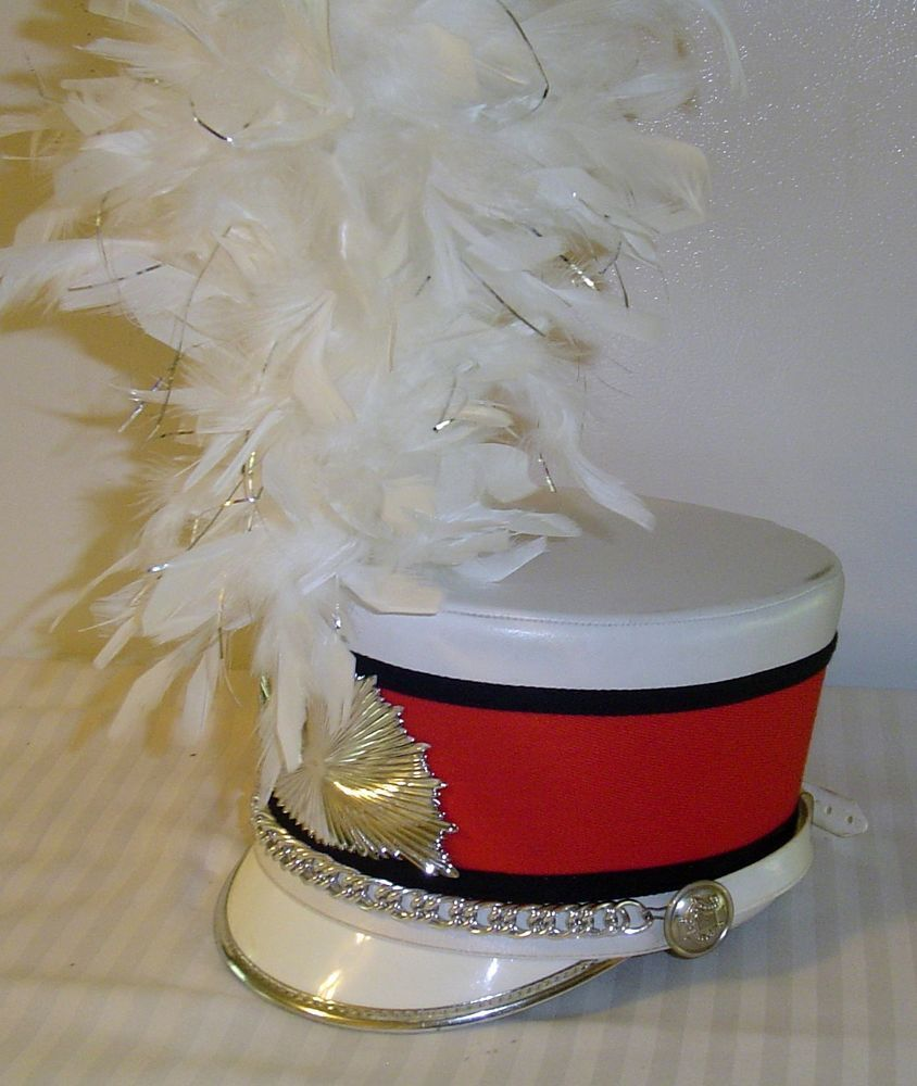 Marching Band Hat Feather White Plume
