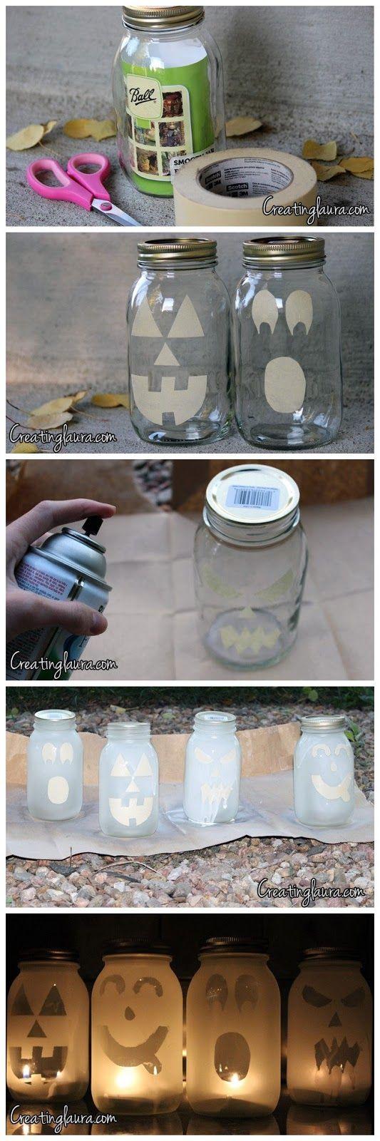 Mason Jar Jack-O'-Lanterns