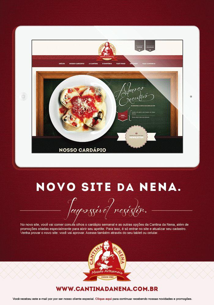 E-mail Marketing que promove o novo site da Cantina da Nena.