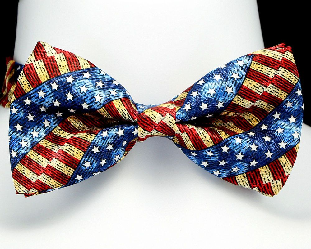 Antique American Flag Mens Bow Tie Tuxedo Adjustable Fashion Gift Bowtie New Mens Bow Ties American Flag Tie American Flag