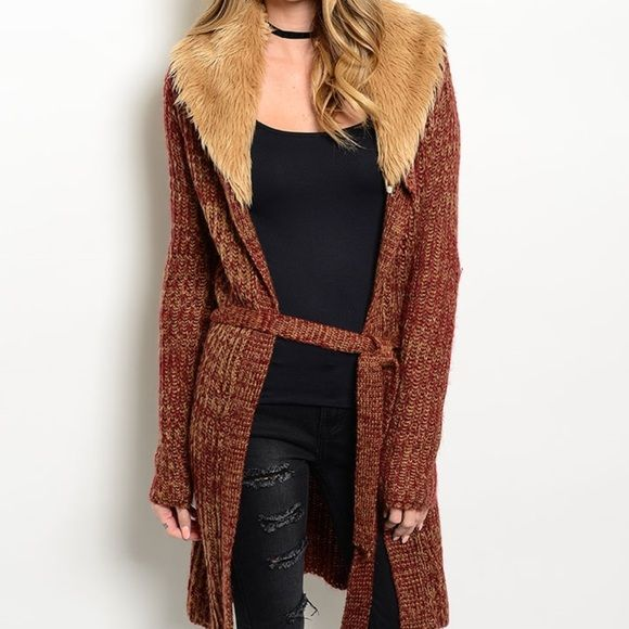 FREE SHIPPINGFur Trimmed Long Open Cardigan Brand New...... Wine rust cardigan with faux fur trim. This cardigan features long sleeves and a self tie waist belt.  The fur trim is also removable. Fabric Content: 70% acrylic and 39% polyester. Will be available in SML. NO: holds, trades,or PP! Thank you! :) Faith & Sparkle Sweaters Cardigans