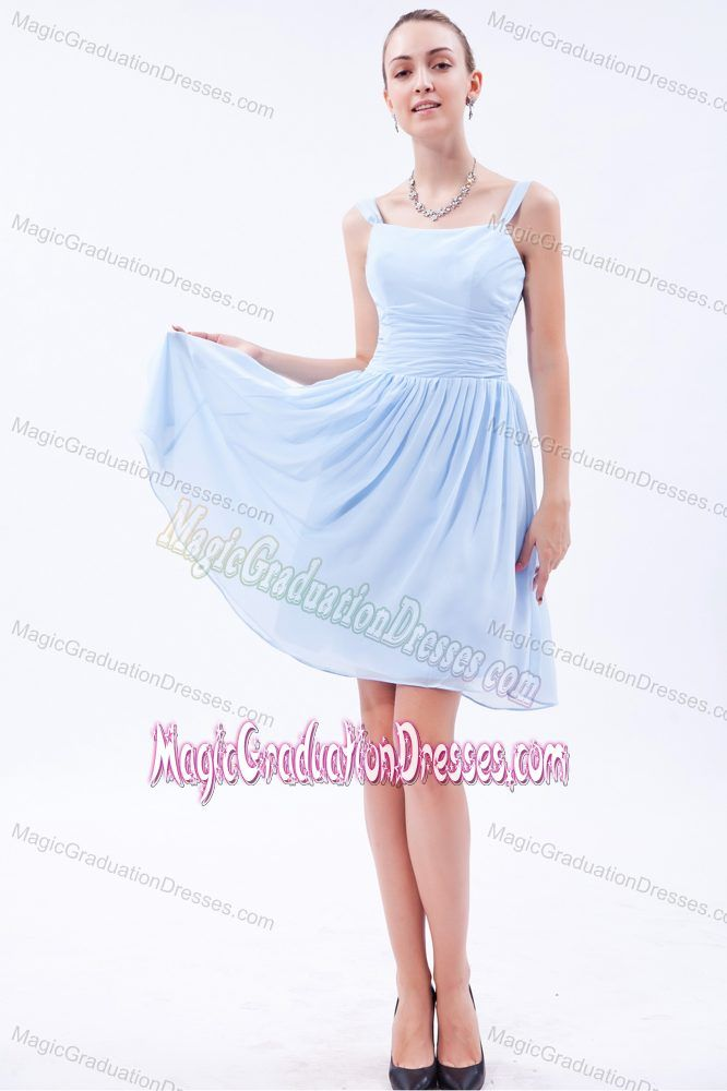Straps Knee-length Ruche Baby Blue Graduation Dresses for 8th ...