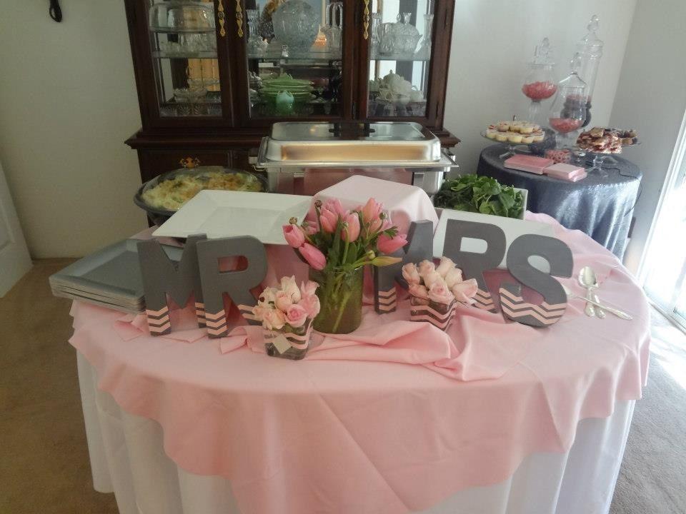 Wedding Gift Ideas Sydney: Pink And Grey Mr.& Mrs Bridal Shower. Brunch Table