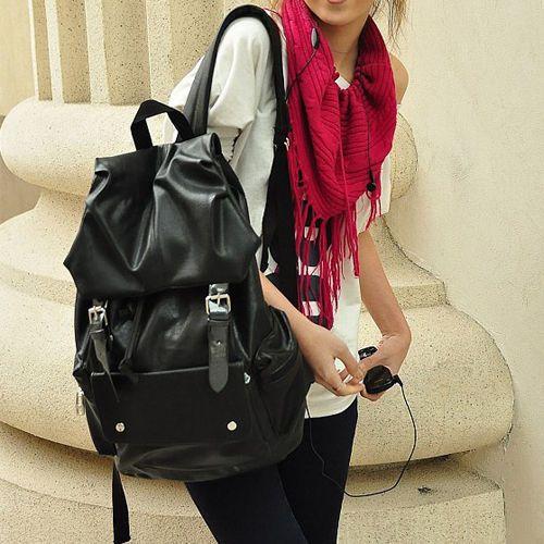Fashion Korean Women Ladys Girl New Leisure PU Leather Shoulder Bag Backpack