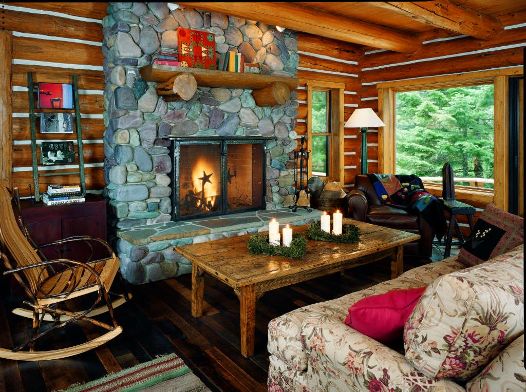 Log home interior design leads contractor voor