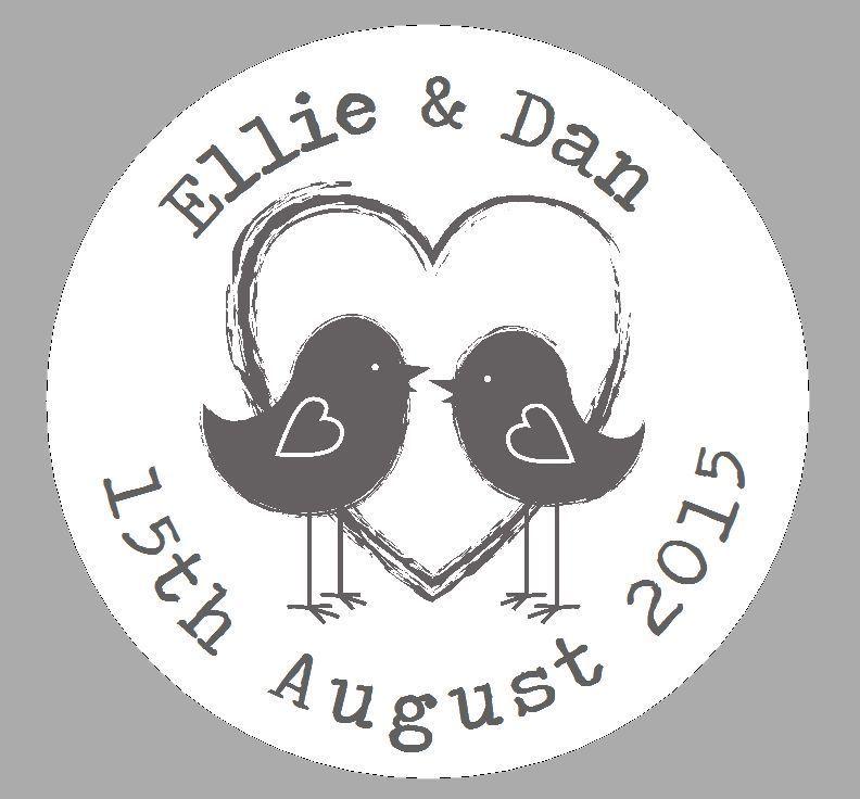 24 personalised round labels shabby lovebirds grey round wedding favour sticker