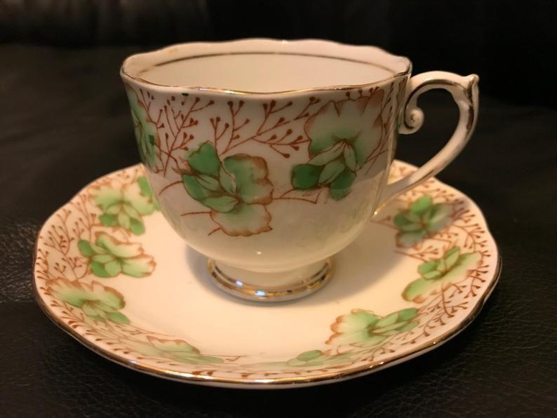 On Sale Vintage Roslyn Tea Cup And Saucer Green Sweet Etsy Tea Cups Tea Cup And Saucer