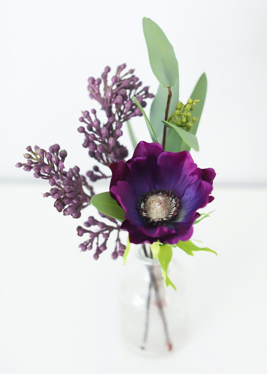 Purple Silk Anemone And Eucalyptus Vase Arrangement 9 25 In 2019