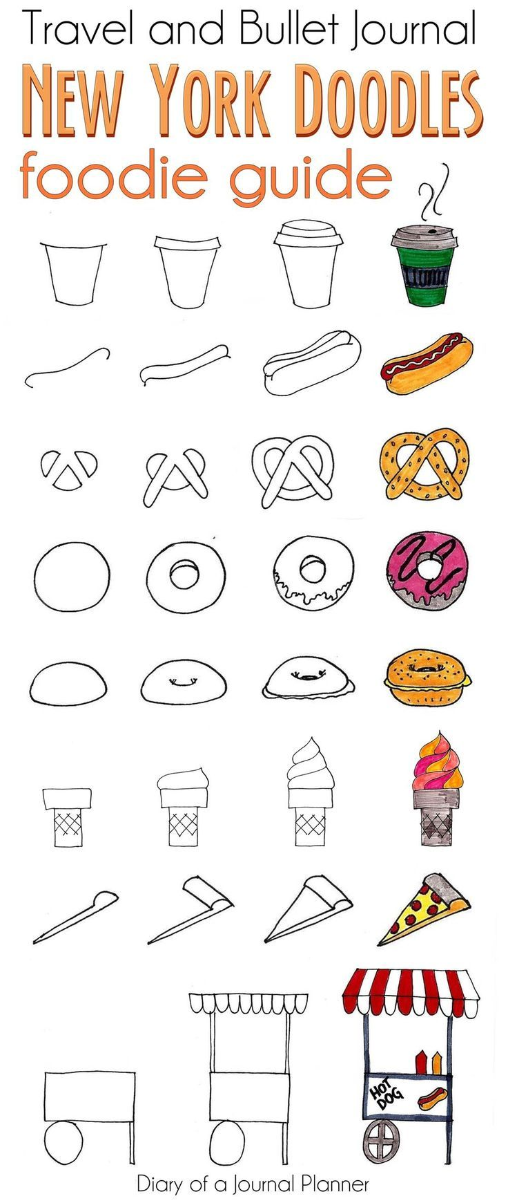 Food doodles of NY for travel journal or bullet journal. #doodles #illustration #drawings