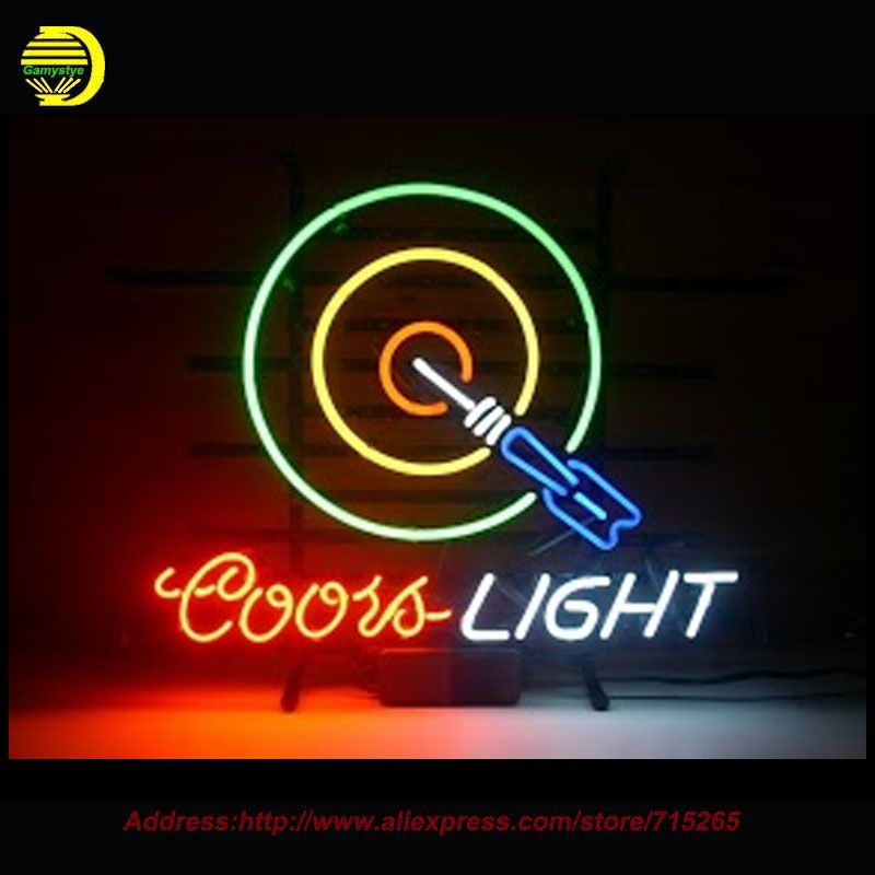 Neon Sign Coors Light Dartboard Neon Light Neon Bulb Handmade Glass Tube Advertise Iconic Sign Business Lamp Store Dis Neon Light Signs Neon Signs Custom Glass