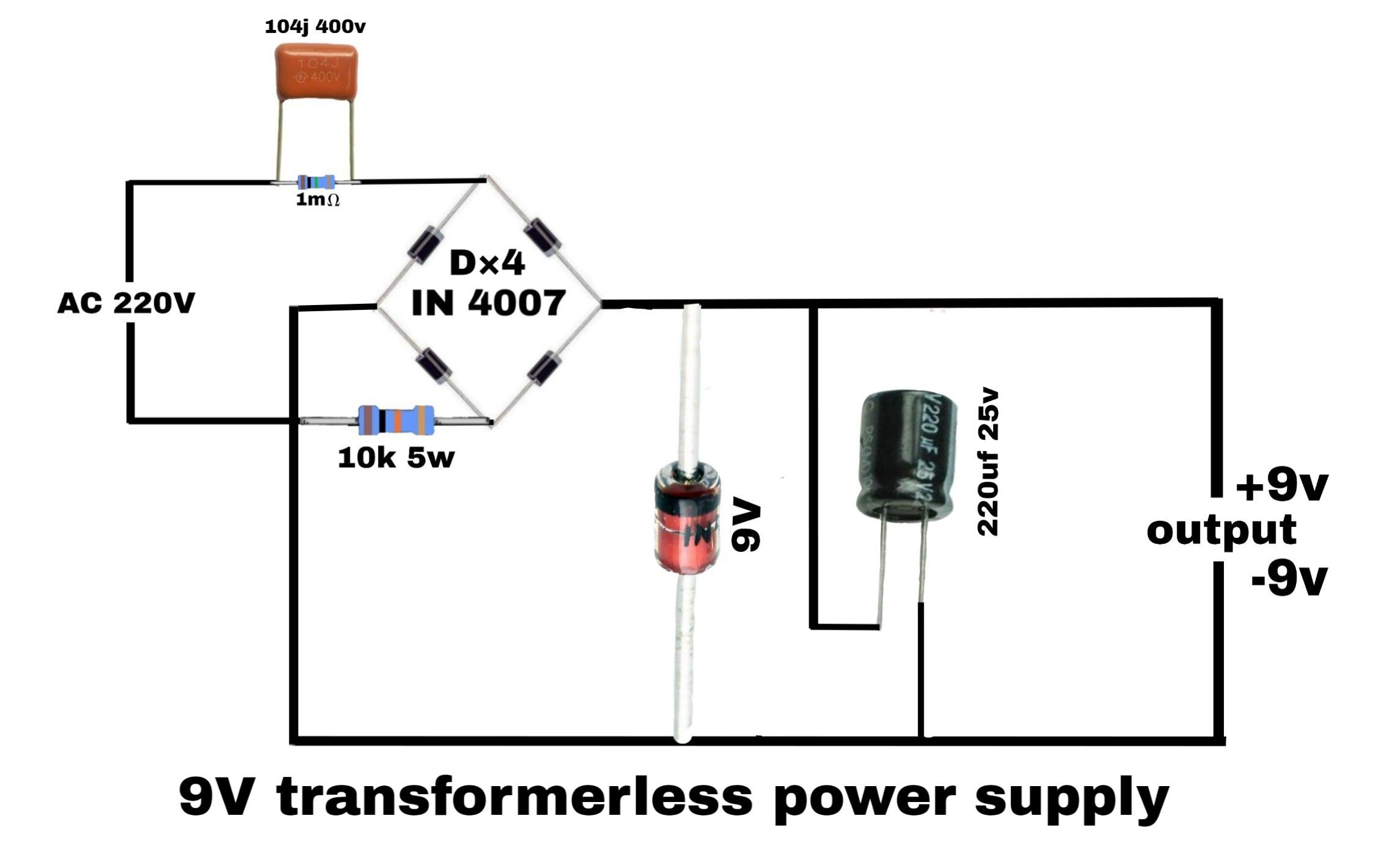 ac 220v to dc 9v transformerless power supply electronics circuit circuit diagram moreover transformerless power supply circuit diagram [ 2289 x 1402 Pixel ]