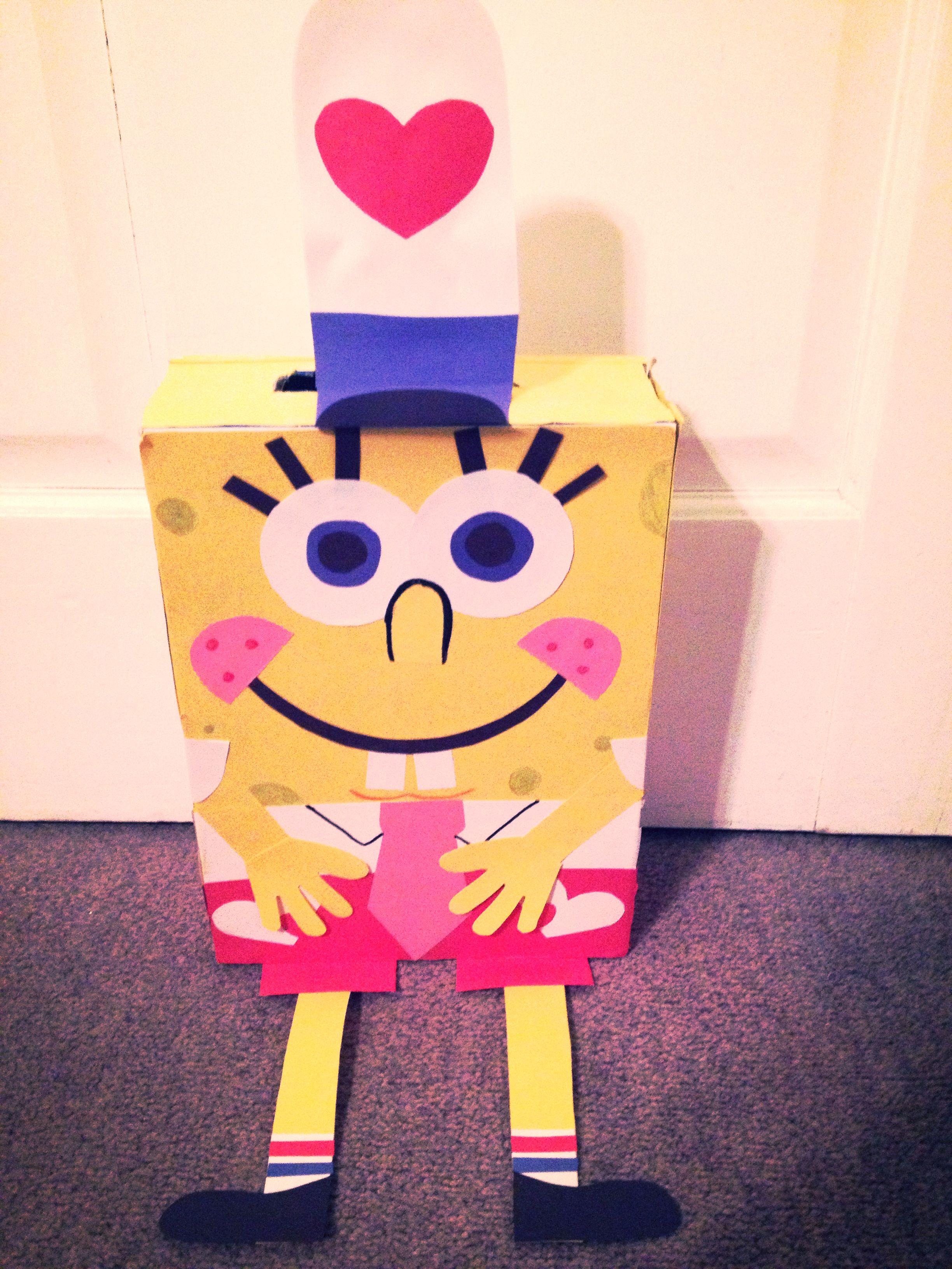 spongebob square pants valentine box super easy cereal boxconstruction - How To Make Valentine Boxes