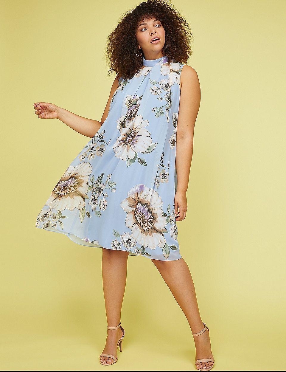 b1edcb5ea8894 Mock-Neck Sheath Dress with Swing Overlay | Lane Bryant | Clothes ...