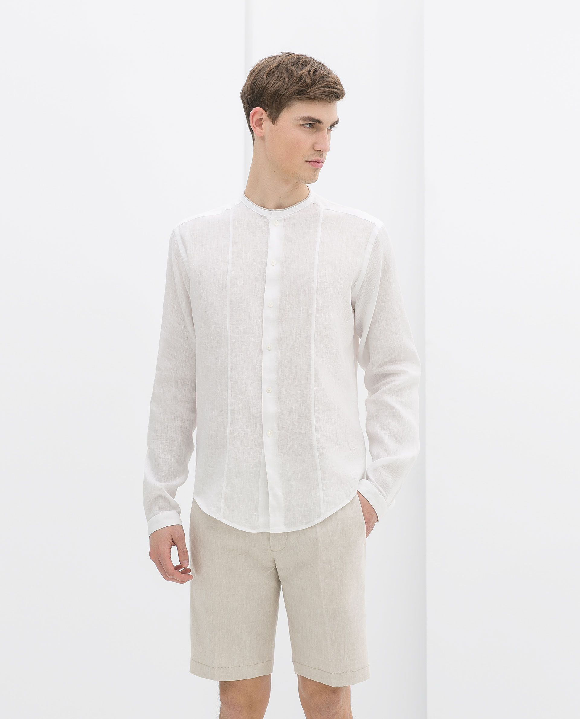 Linen collarless shirt (Zara-SS 2014) | Carrot | Pinterest | Men's ...