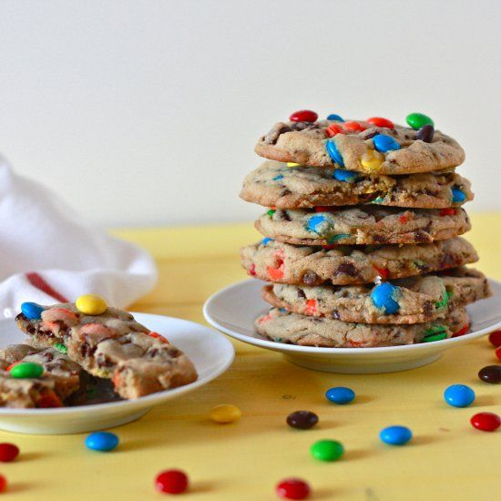 Soft, gooey cookies with mini chocolate chips and M&M's, plus a recipe for homemade vanilla pudding mix!