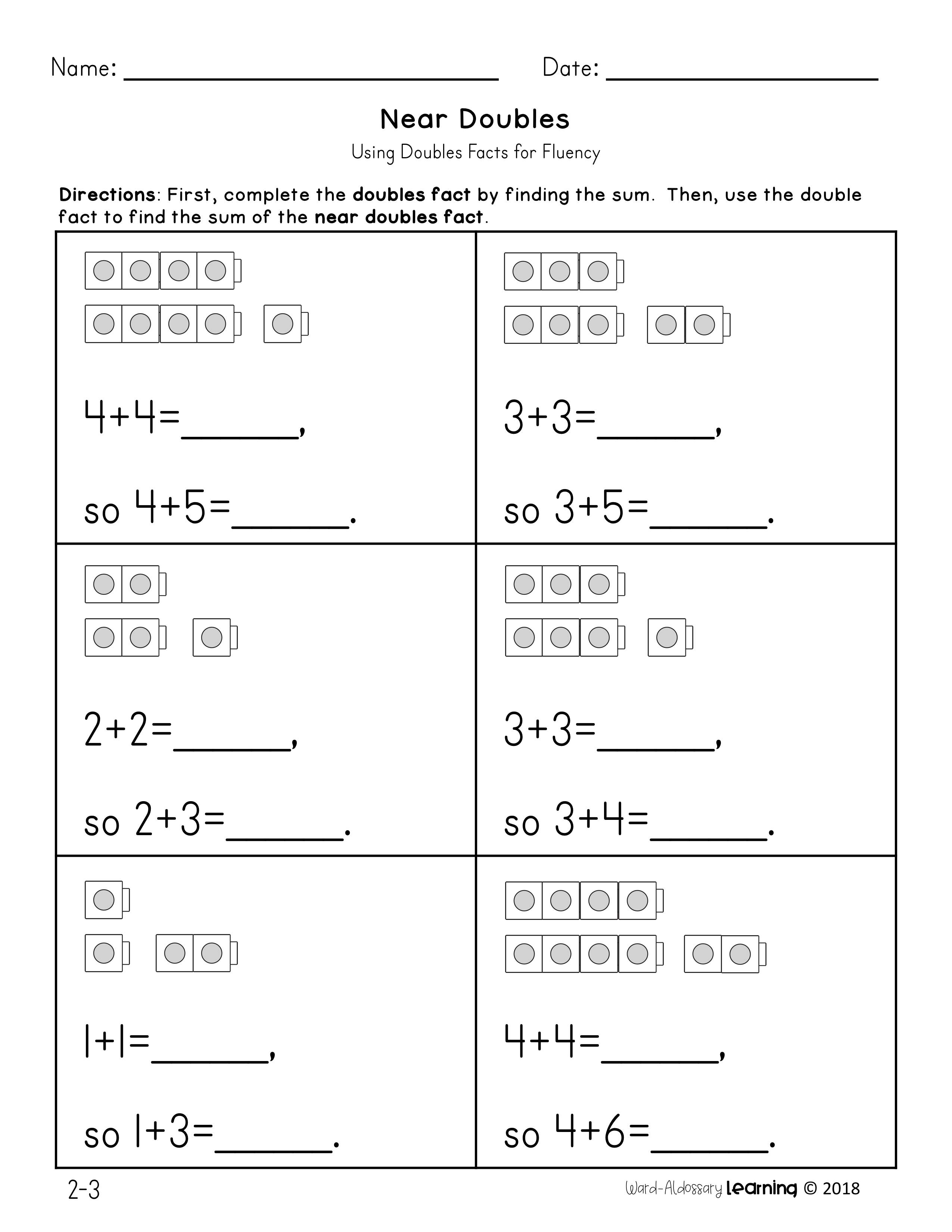 1st Grade Math Adding Doubles Worksheets   Printable Worksheets and  Activities for Teachers [ 3300 x 2550 Pixel ]