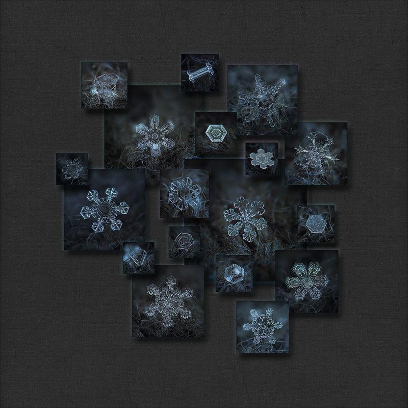 Snowflake photo collage: Dark crystals 2012-2014