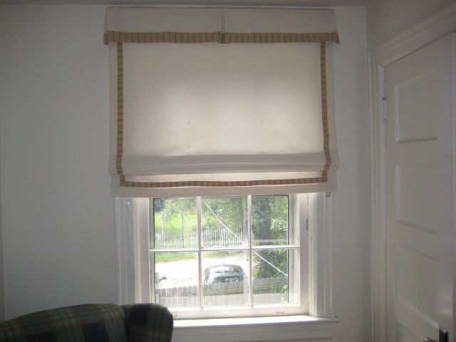 Decorating roman shades for windows : Flat fabric roman shade with kick pleat valance. Contrast fabric ...