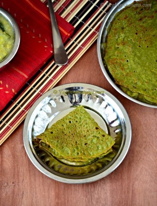 Keerai Oat Dosai ~ Palak Oats Dosa ~ Savory Indian crepes with spinach and oats