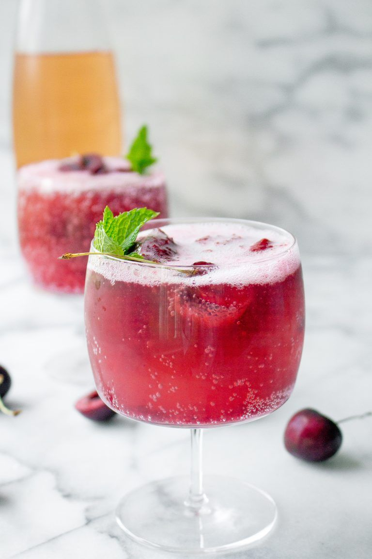 Cherry Sorbet Rose Wine Spritzers Yestoyolks Com Mixed Drinks Recipes Spritzer Recipes Non Alcoholic Wine