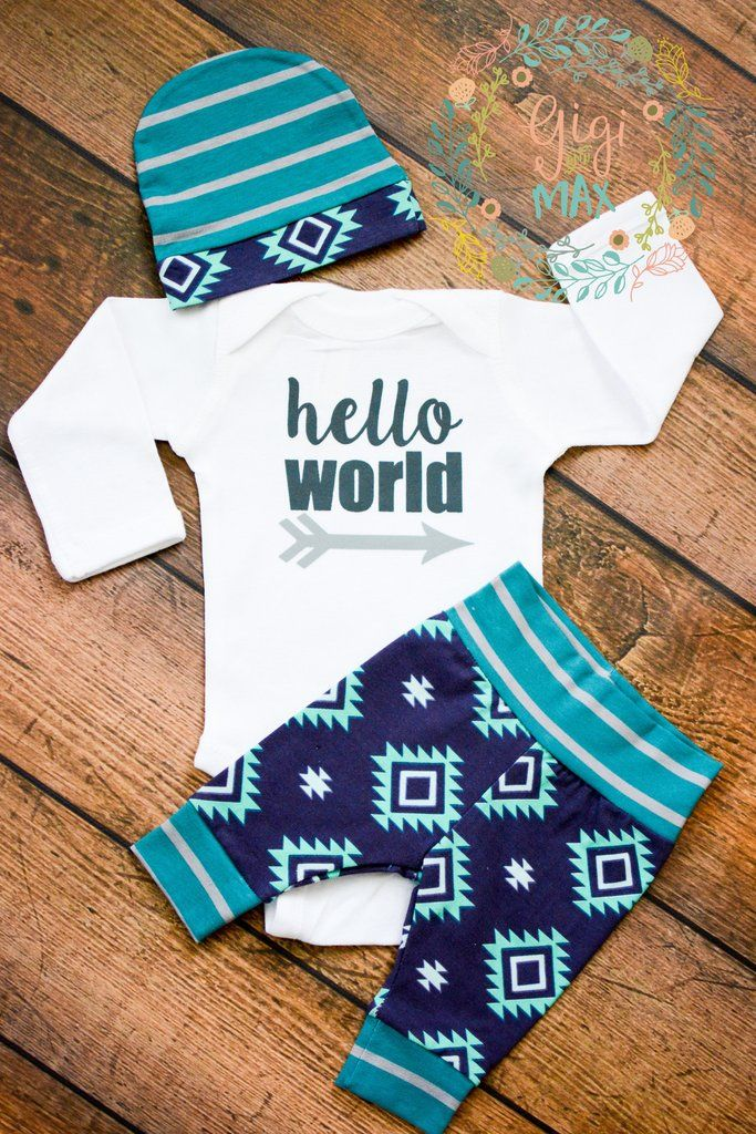 Mint And Teal Aztec Newborn Outfit Newborn Outfits Onesie And Babies