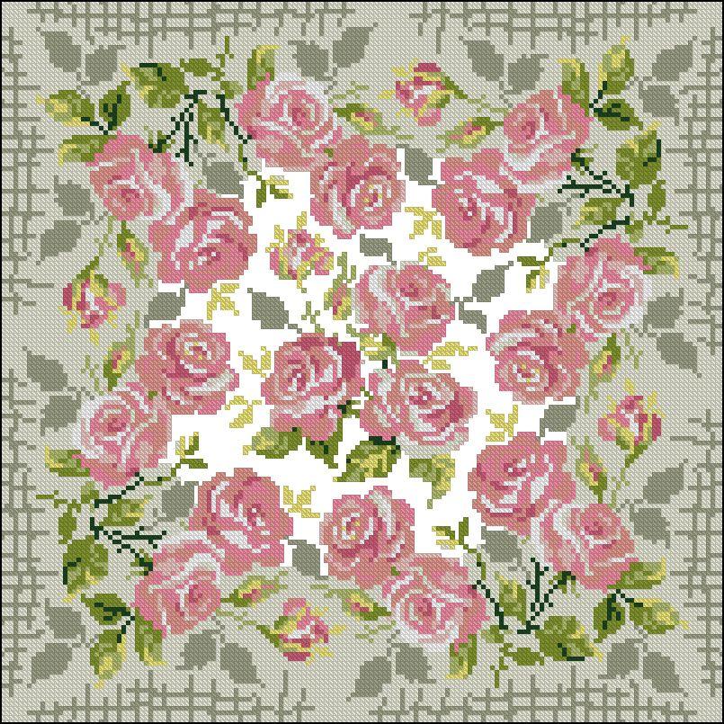 Схемы вышивок подушки с розами 11