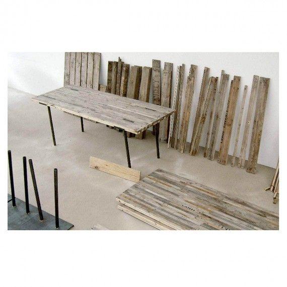 table palox 200 cm table plateau en lattes de bois provenant de caisses agricoles recycl es. Black Bedroom Furniture Sets. Home Design Ideas