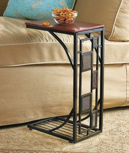 End Table Side Tray Vines Leaves Slate Tile Metal Slide Under Sofa