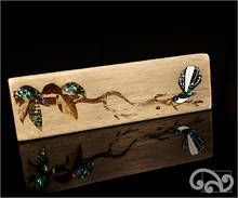 Recycled driftwood with paua fantail