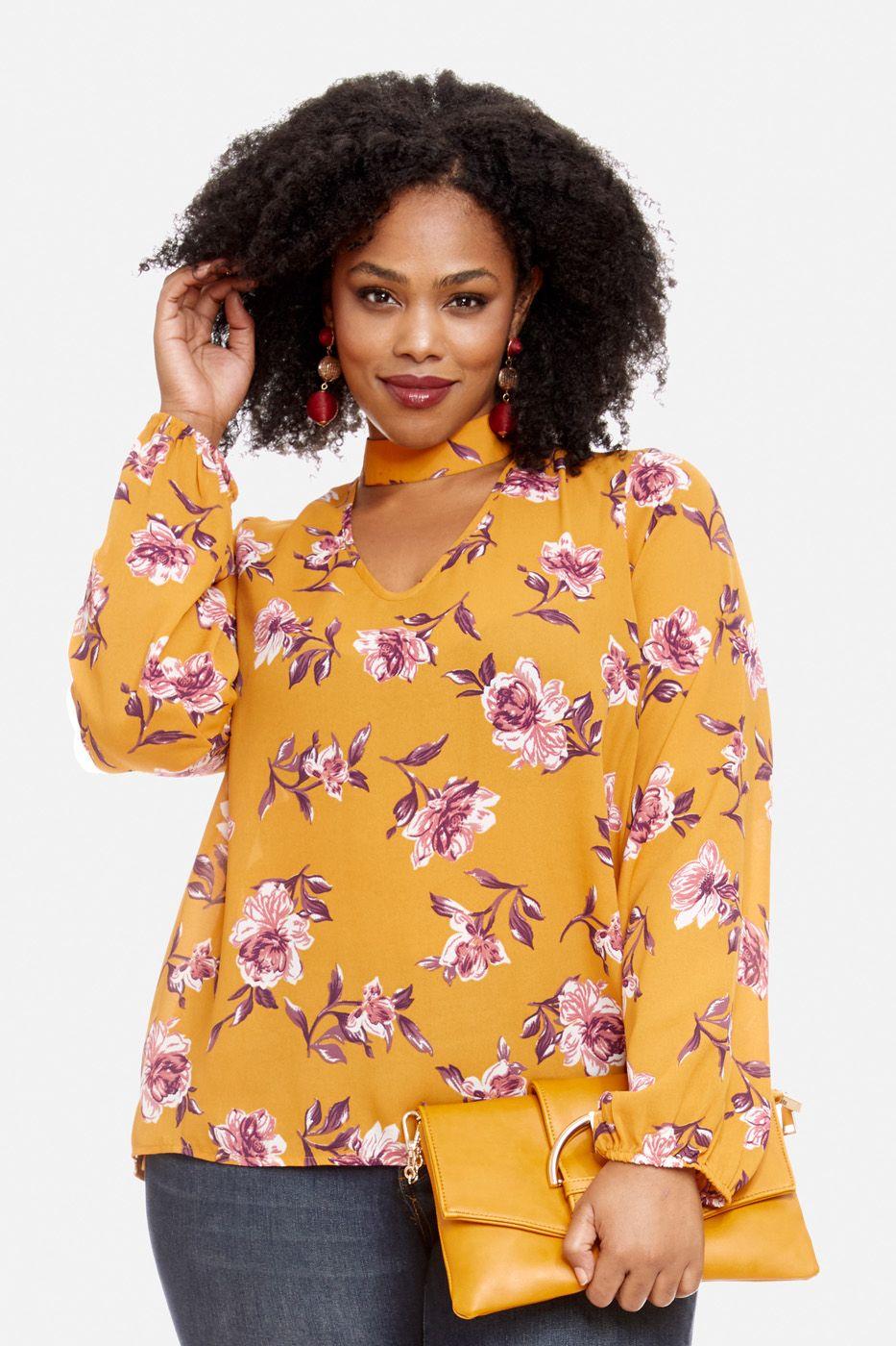 b59d713ff6e978 Plus Size Giselle Floral Choker Blouse | closet stuff | Fashion ...