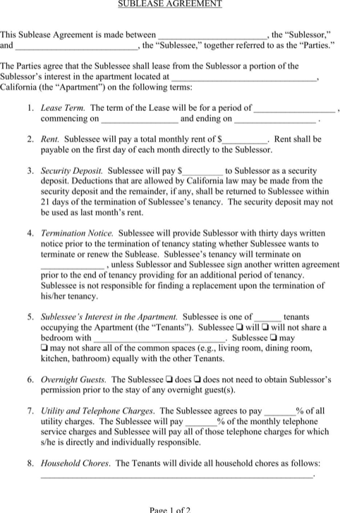 Sublease Agreement Agreement, Lease agreement, Template