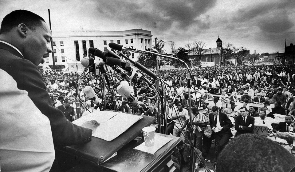 Image result for dr. martin luther king and marchers arrive at the state capitol in montgomery, alabama in 1965 newspaper articles