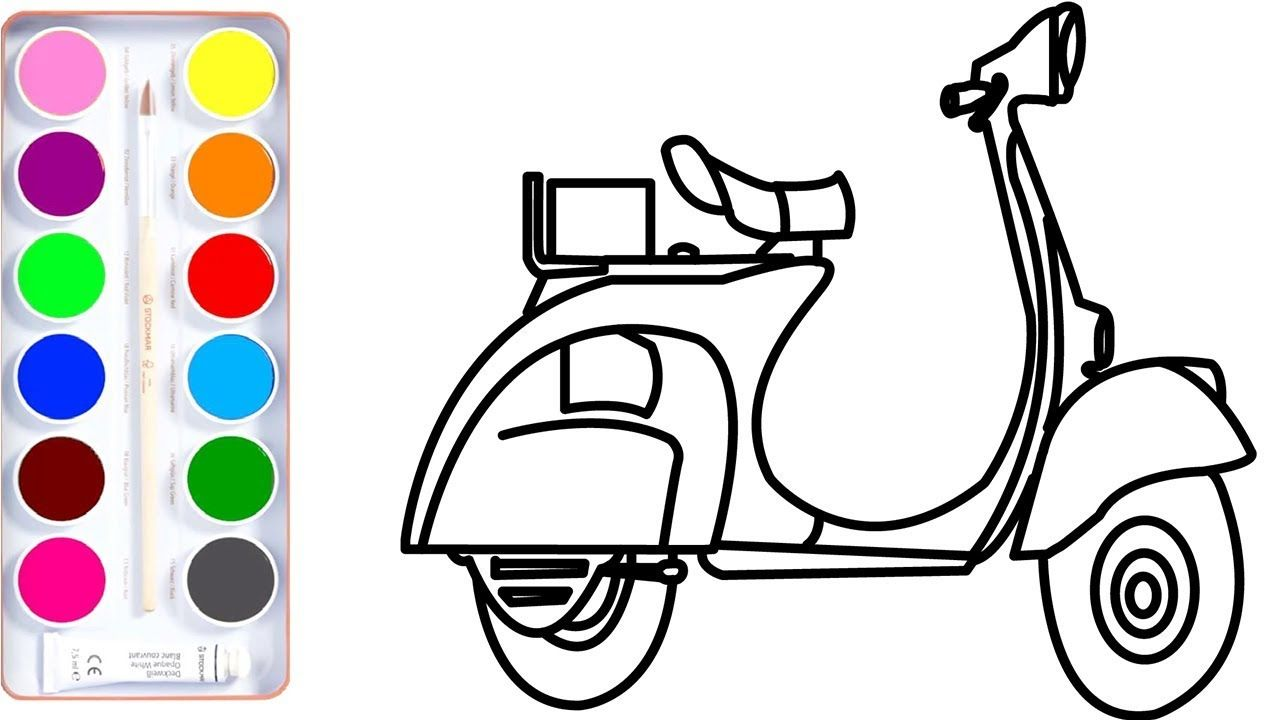 How To Draw Scooter Coloring Page For Kids L Coloring Draw Kids Toddler Color Learning Learning Colors Toddler Learning