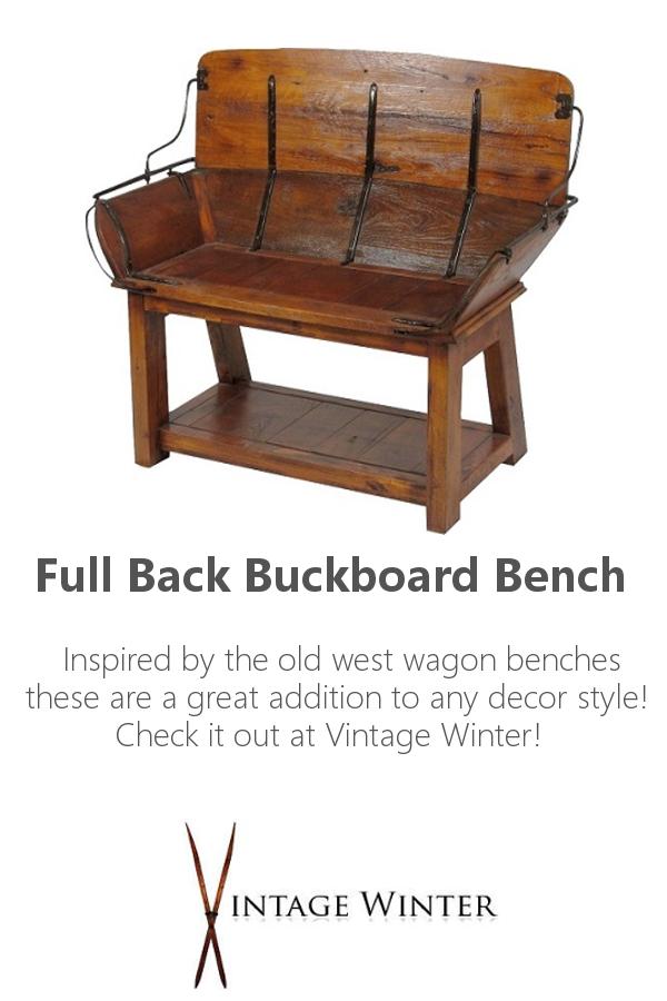 Fullback Buckboard Bench Ski Decor Vintage Winter Rustic Cabin