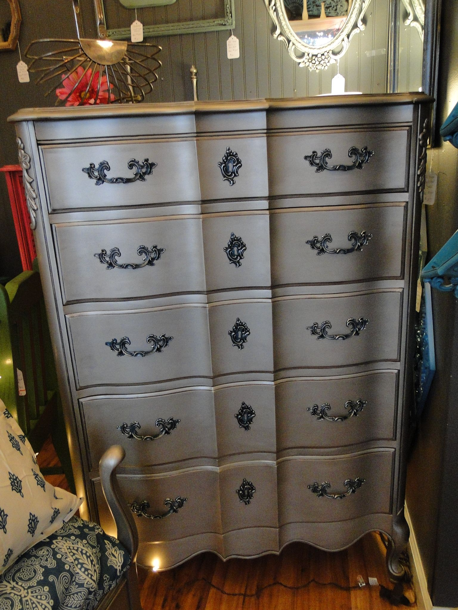 Tarnished Silver French Provincial Bedroom Set with teal accented handles and drawers. Modern Vintage