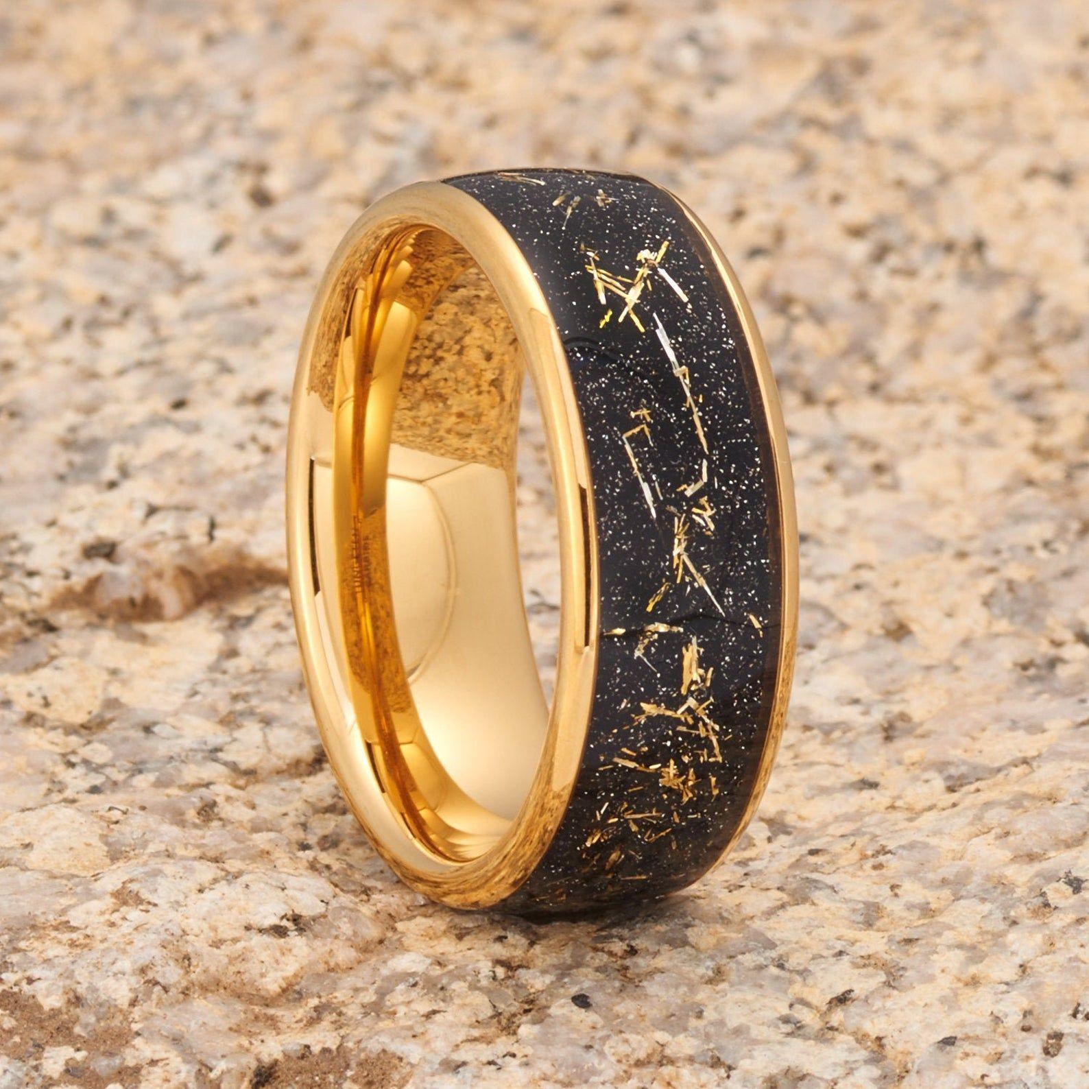 Meteorite Tungsten Wedding Band, Tungsten Wedding Ring
