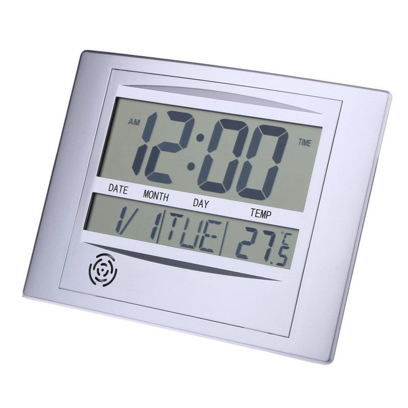 Digital Atomic Wall Clock and Office Desk Clock Day Temperature