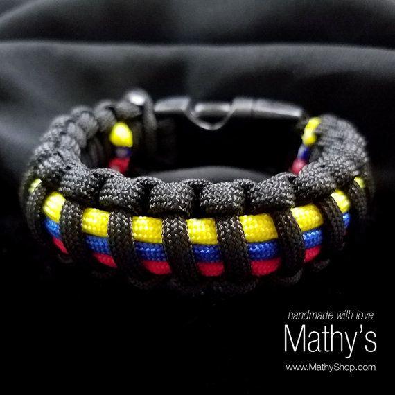 f16088d5ae24 Venezuelan men bracelet   parachute cord Black and by MathyShop Pulseras De  Amuleto