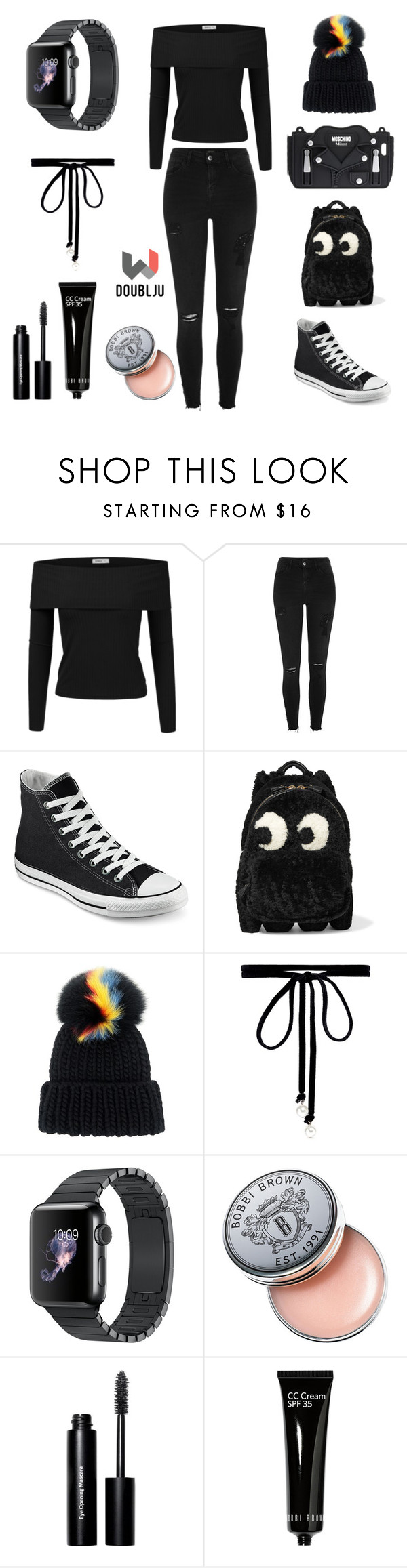 """Doublju Women's Off Shoulder Style"" by doublju-company ❤ liked on Polyvore featuring Doublju, River Island, Converse, Anya Hindmarch, Eugenia Kim, Joomi Lim, Bobbi Brown Cosmetics and Moschino"