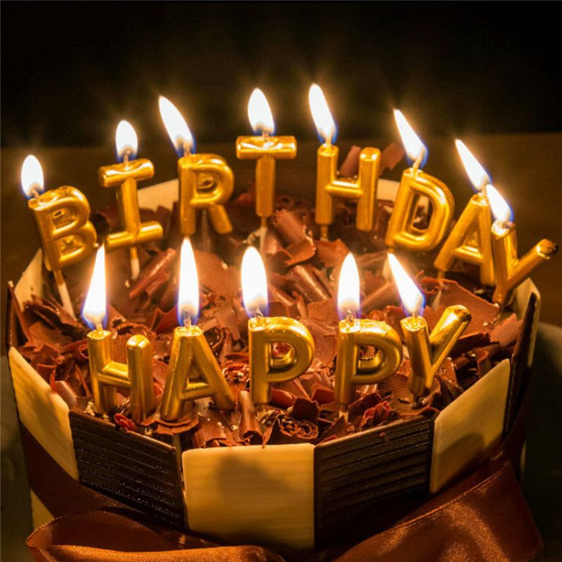 Marvelous 13Pcs Set Birthday Cake Decoration Home Party Use Ideal Gold Happy Funny Birthday Cards Online Elaedamsfinfo