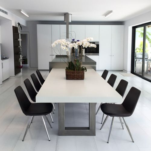 Zen Concrete Dining Table Concrete Dining Table Dinner Tables Furniture Dining Room Table Modern concrete dining room design