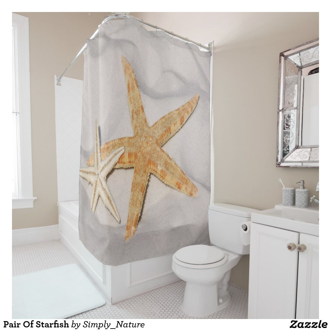 Pair Of Starfish Shower Curtain