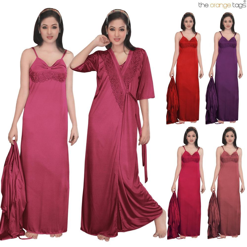 3292b01722 LADIES NIGHTIE NIGHTY WOMENS DESIGNER 2PC NIGHTWEAR ROBE SATIN NIGHTDRESS  in Clothes