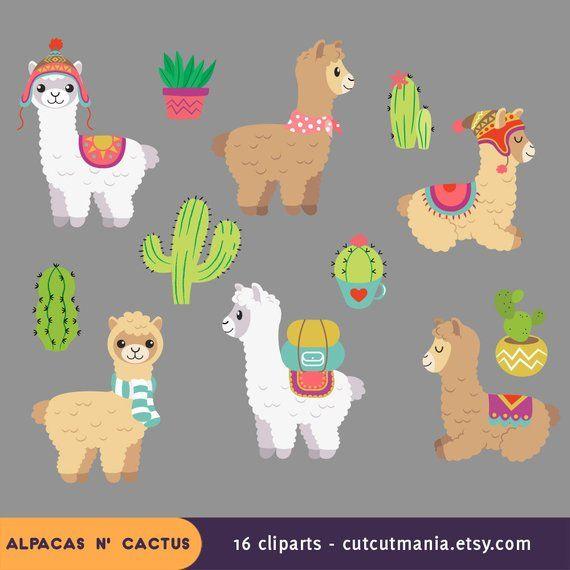 Cute Alpaca Clipart Cute Lhama Clipart Cactus Clip Art Alpacas
