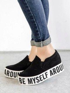 2b16a32dd8631 Shop Zapatillas De Lona Estampado De Letras Negras from choies.com .Free  shipping Worldwide.