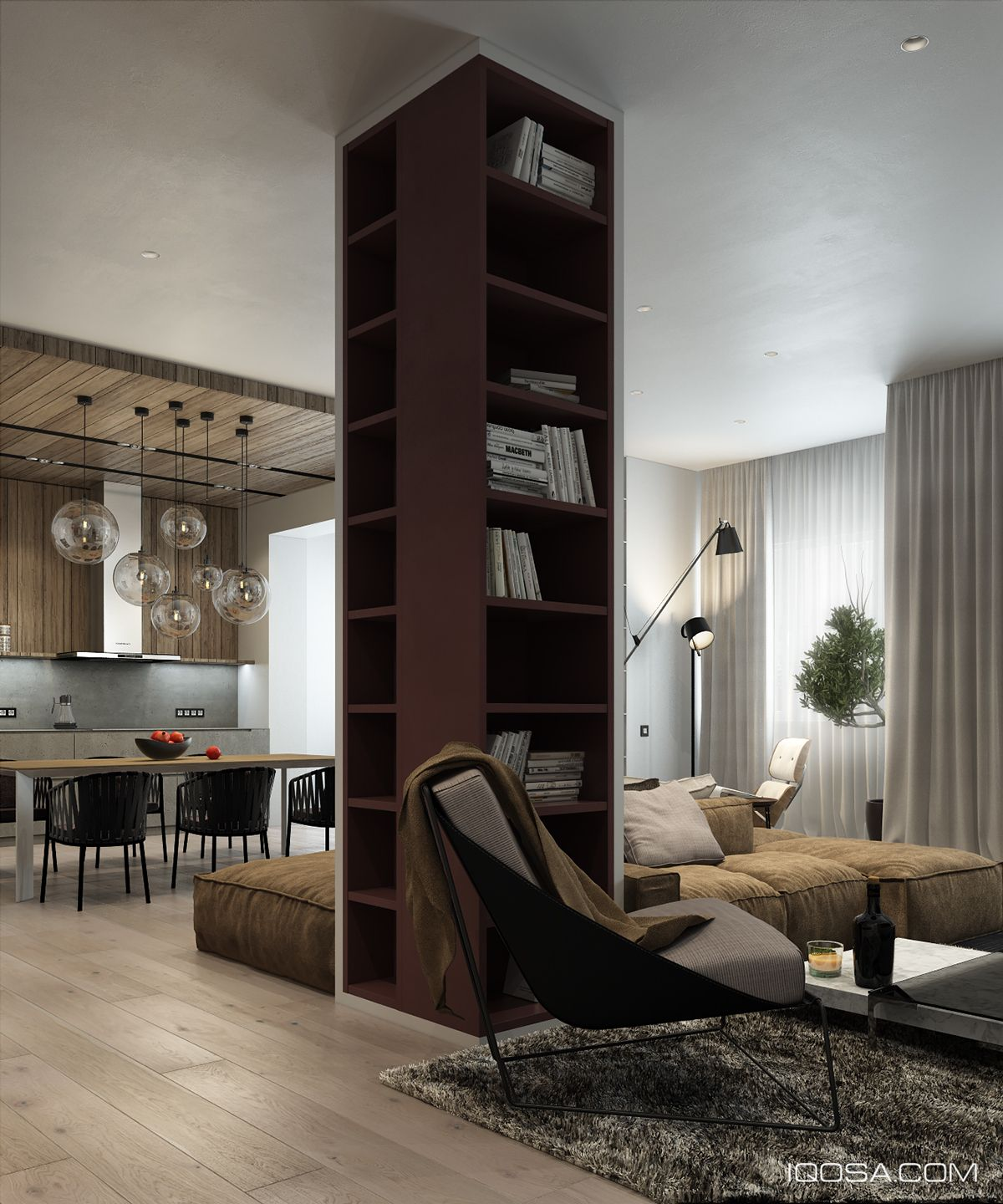 Modern Home Architecture Interior Designs With Columns: Library Column In A Great Room In An Apartment In Minsk