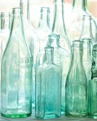 Antique bottles no 2  old blue green bottles in by leapinggazelle