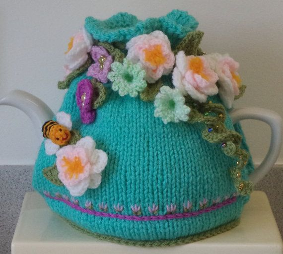 Summer blossoms hand knitted crocheted and by peerietreisures | Tea ...
